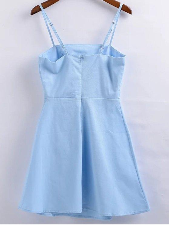 Linen-Blend Fitted Cami Dress - LIGHT BLUE L Mobile