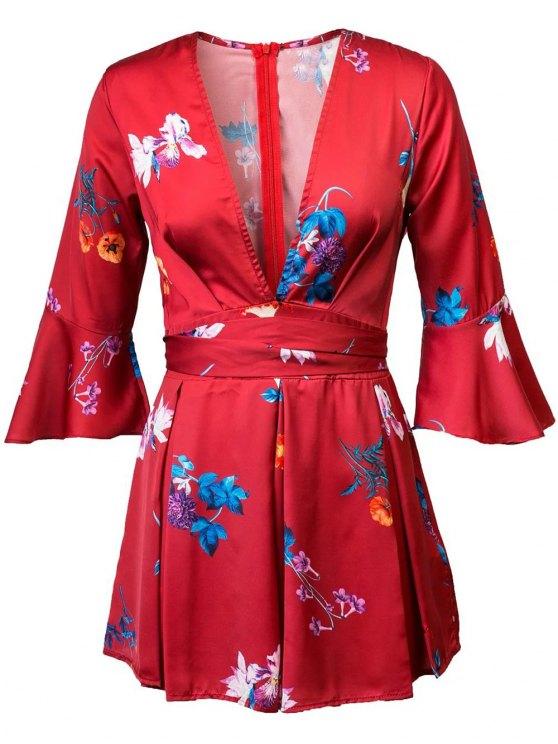 Floral Print Plongeant Neck Flare manches Romper - Rouge L