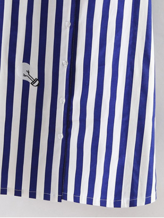 Off Shoulder Striped Dress - BLUE AND WHITE L Mobile