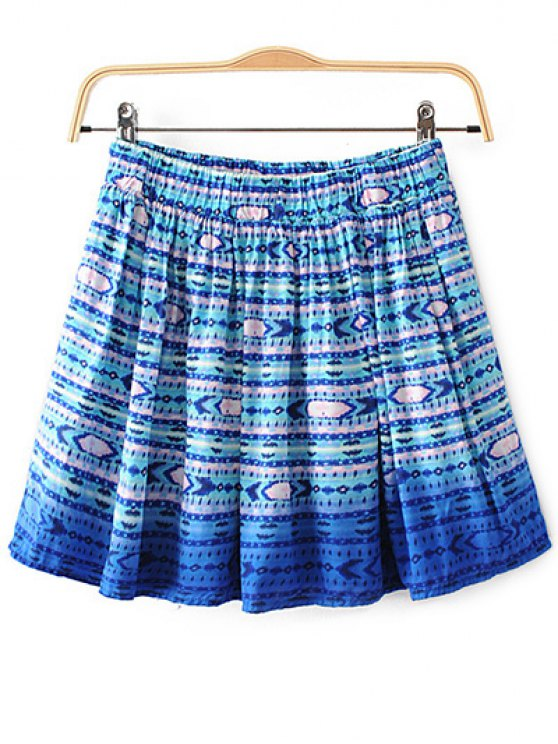 Printed Flounce Skirt - BLUE L Mobile