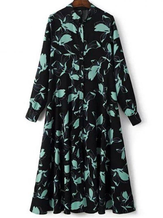 Printed Long Sleeve Shirt Dress - BLACK M Mobile