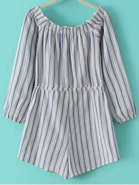 Cold Shoulder Striped Playsuit - BLUE AND WHITE L Mobile