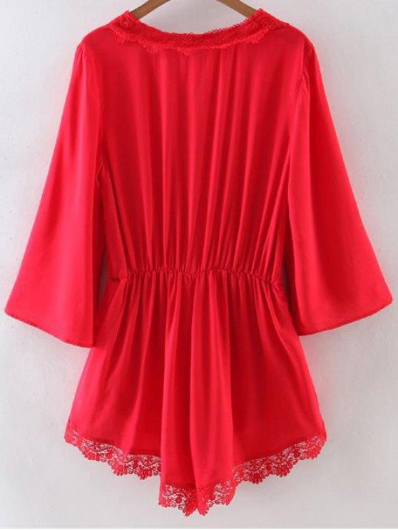 Lace Spliced V-Neck Solid Color Romper - RED S Mobile