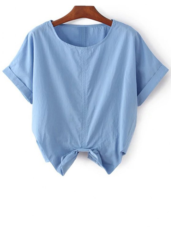 shops Self Tie Round Neck Short Sleeve T-Shirt - BLUE ONE SIZE(FIT SIZE XS TO M)