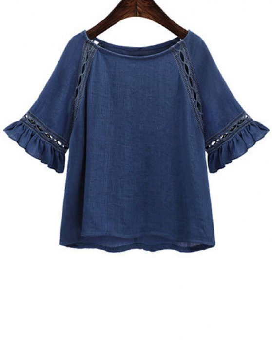 best Hollow Out Butterfly Sleeve Solid Color T-Shirt - DEEP BLUE L
