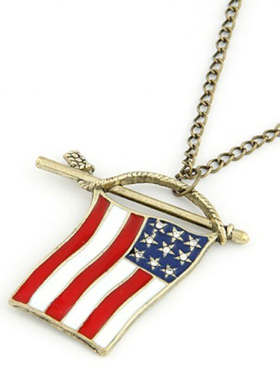 American Flag Pendant Long Necklace - GOLDEN  Mobile