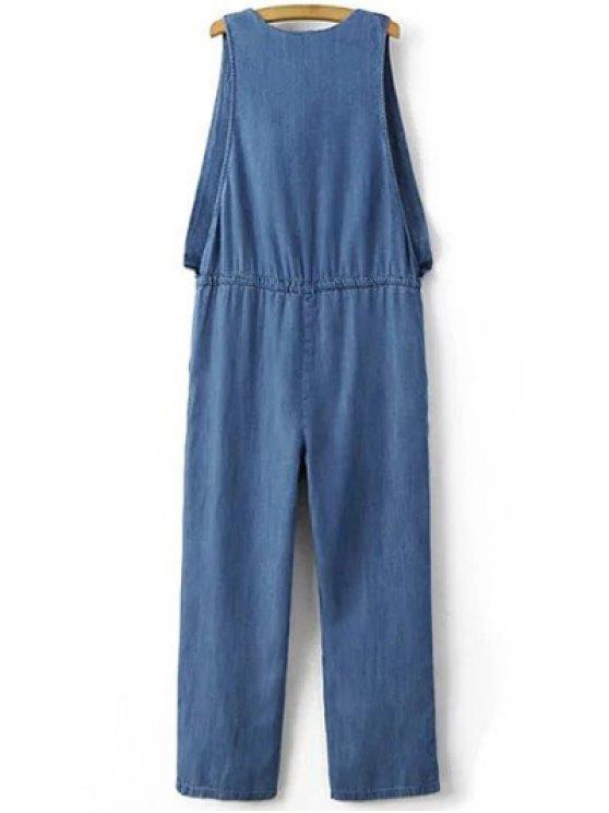 Drop Armhole Denim Jumpsuit - BLUE L Mobile