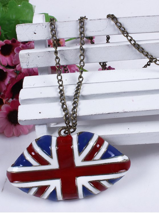 England Flag Lip Oil Drip Necklace - BLUE  Mobile