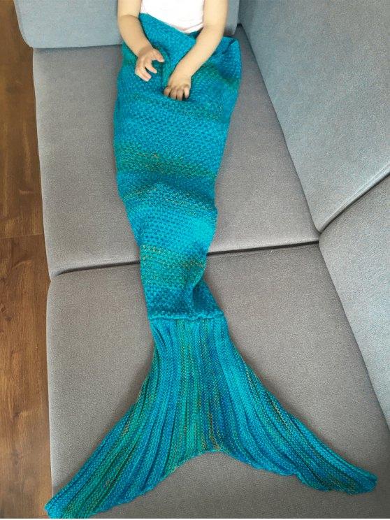 Stripe Knitted Mermaid Tail Blanket - BLUE  Mobile
