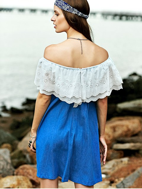 fancy Embroidered Ruffle Denim Dress - BLUE AND WHITE L Mobile