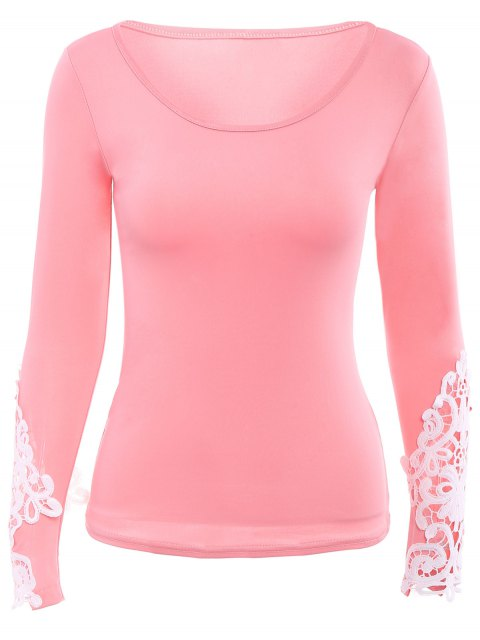 new Lace Trim Long Sleeve Scoop Tee - PINK XL Mobile