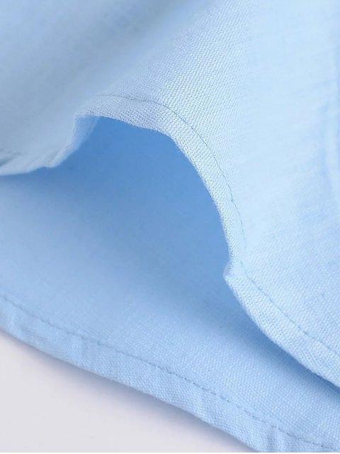trendy Linen-Blend Fitted Cami Dress - LIGHT BLUE L Mobile