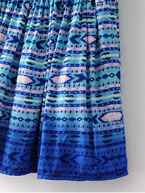 shop Printed Flounce Skirt - BLUE L Mobile