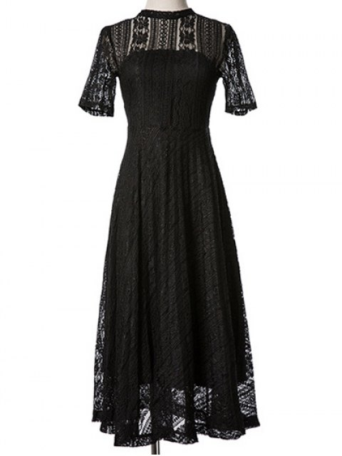 outfit Lace Stand Neck Back Cut Out Midi Dress - BLACK M Mobile