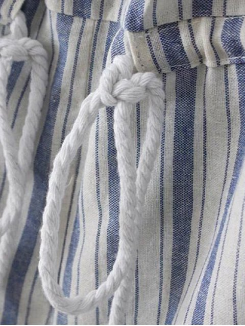 best Cold Shoulder Striped Playsuit - BLUE AND WHITE L Mobile