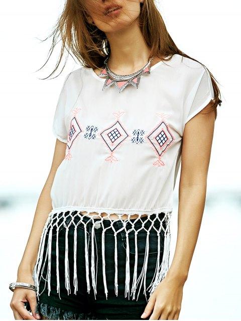 Tassel Hem brodé T-shirt - Blanc S Mobile