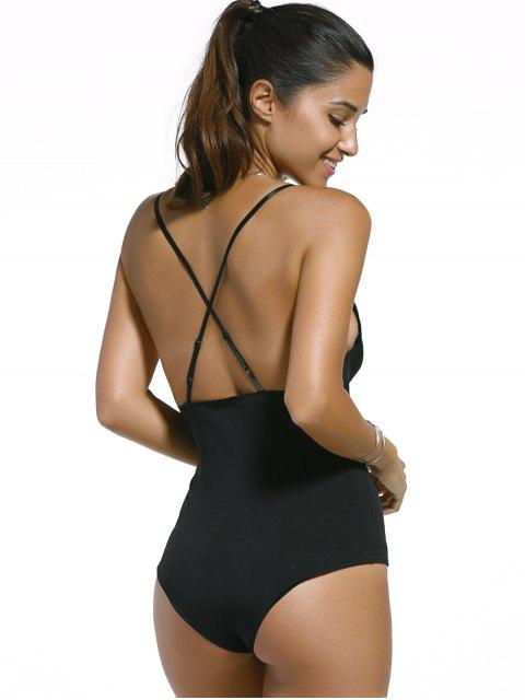 womens Black Cut Out Spaghetti Straps Swimwear - BLACK XL Mobile
