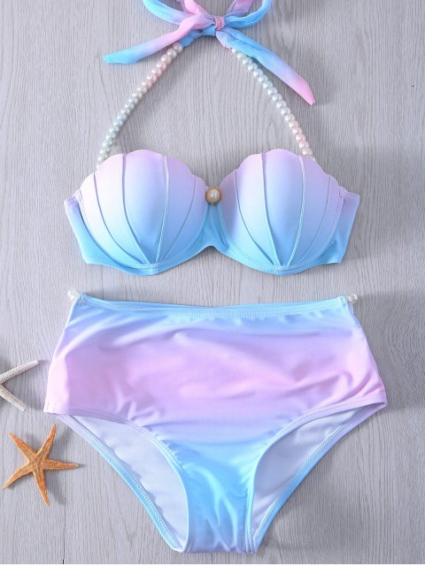 best Pearl Halter Ombre Underwire Seashell Bikini - BLUE AND PINK M Mobile