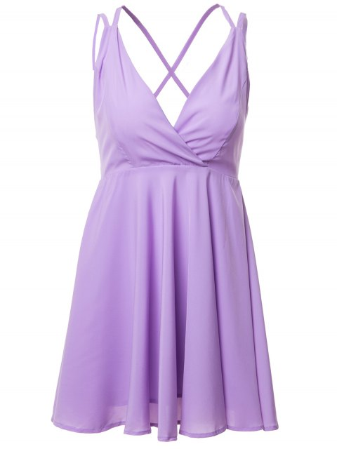 womens Spaghetti Strap Cross Backless Solid Color Dress - PURPLE 2XL Mobile