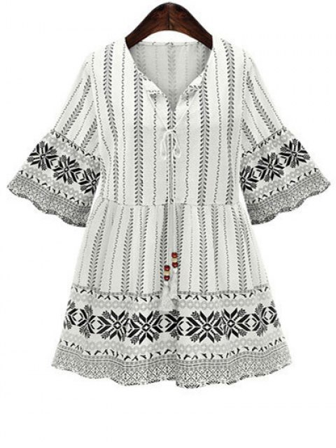 affordable Printed 3/4 Sleeve High Waisted Dress - WHITE M Mobile