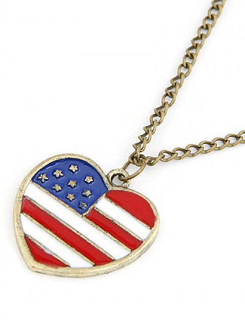 outfit American Flag Heart Pendant Long Necklace - GOLDEN  Mobile