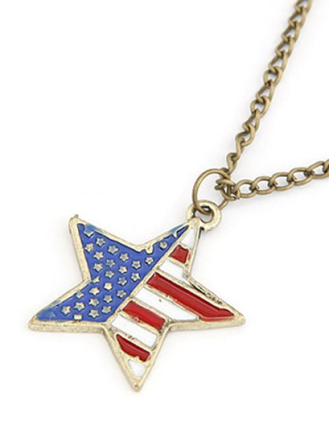 outfits American Flag Star Pendant Long Necklace - GOLDEN  Mobile