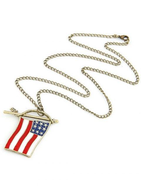shop American Flag Pendant Long Necklace - GOLDEN  Mobile