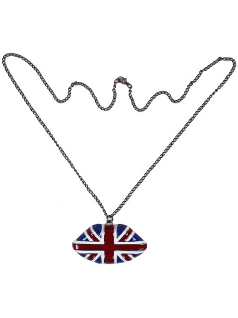 latest England Flag Lip Oil Drip Necklace - BLUE  Mobile