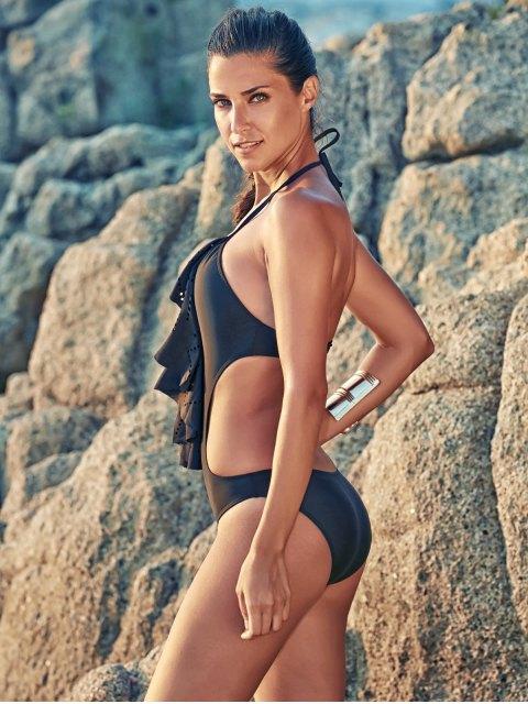 trendy One-Piece Flounce Swimsuit - BLACK L Mobile