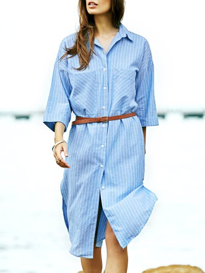 Stripe Turn Down Collar 3/4 Sleeve Shirt - Light Blue