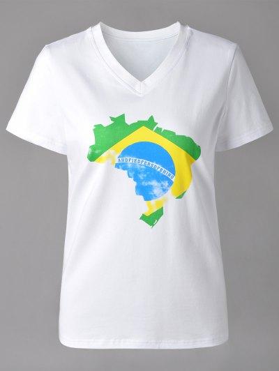 V Neck Map Print Short Sleeve T Shirt For Women