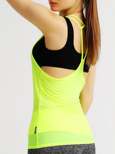 Solid Color Strappy Racerback Gym Tank Top - FLUORESCENT YELLOW S Mobile