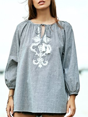 Striped Embroidery V Neck 3/4 Sleeve Blouse - Stripe