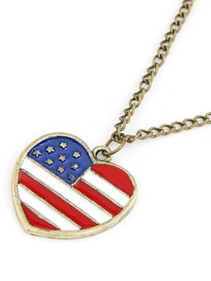 American Flag Heart Pendant Long Necklace - Golden