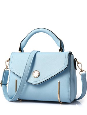 Metal Solid Colour Cover Tote Bag - Light Blue