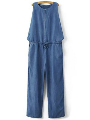 Drop Armhole Denim Jumpsuit - Blue