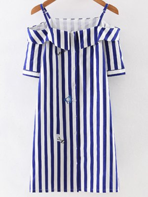 Off Shoulder Striped Dress - Blue And White