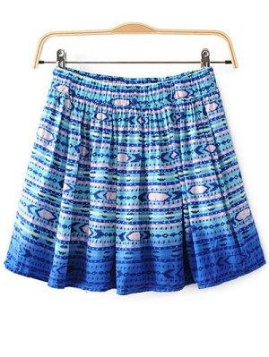 Printed Flounce Skirt - Blue