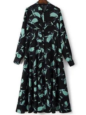 Printed Long Sleeve Shirt Dress - Black
