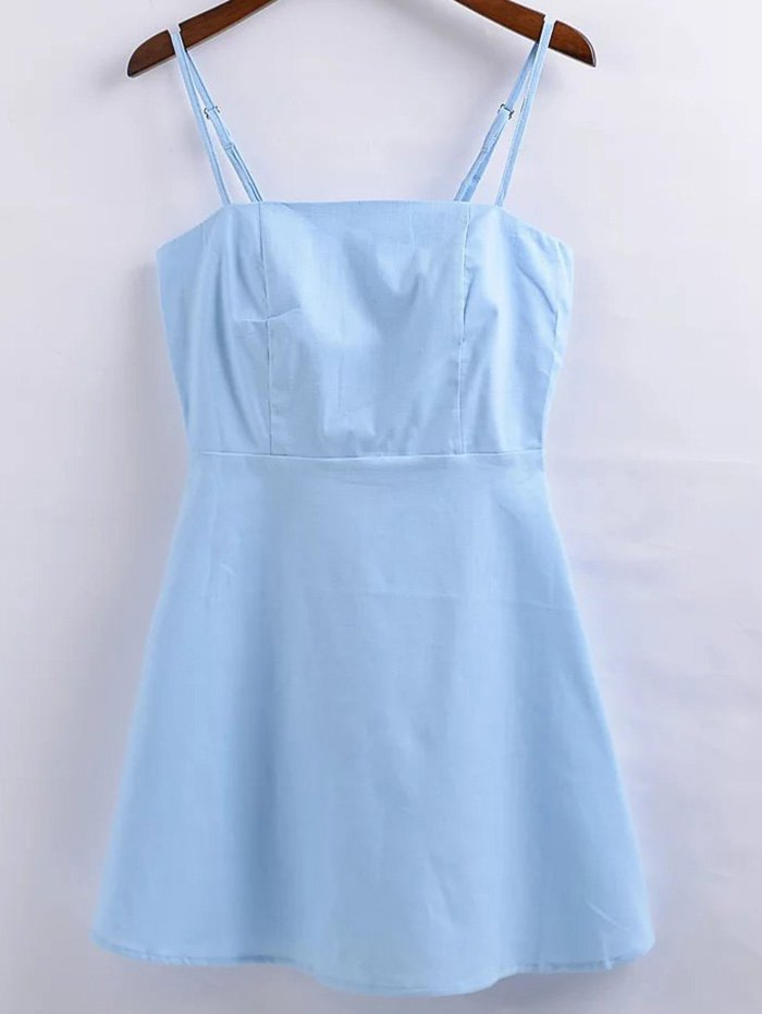 Linen-Blend Fitted Cami DressClothes<br><br><br>Size: L<br>Color: LIGHT BLUE