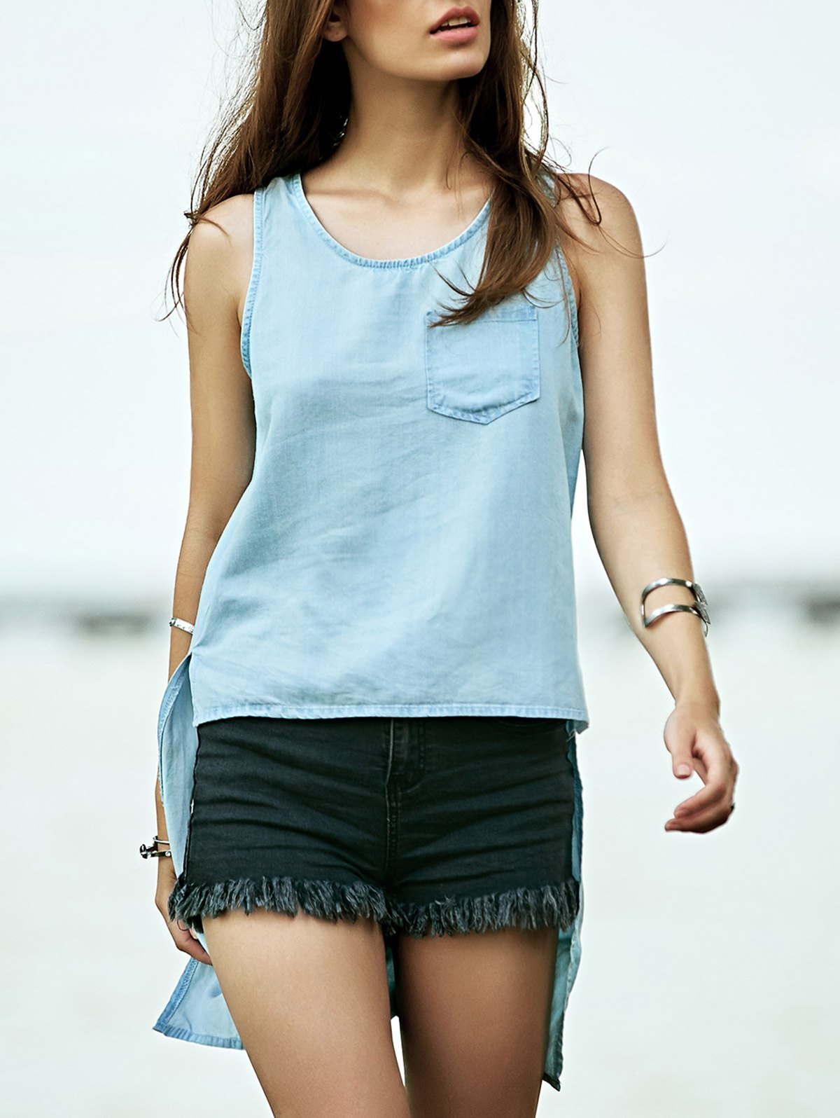Scoop Neck High Low Denim Tank Top