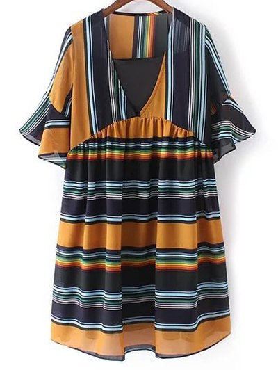 Loose Striped Plunging Neck Flare Sleeve Dress and Black Cami Tank Top Twinset