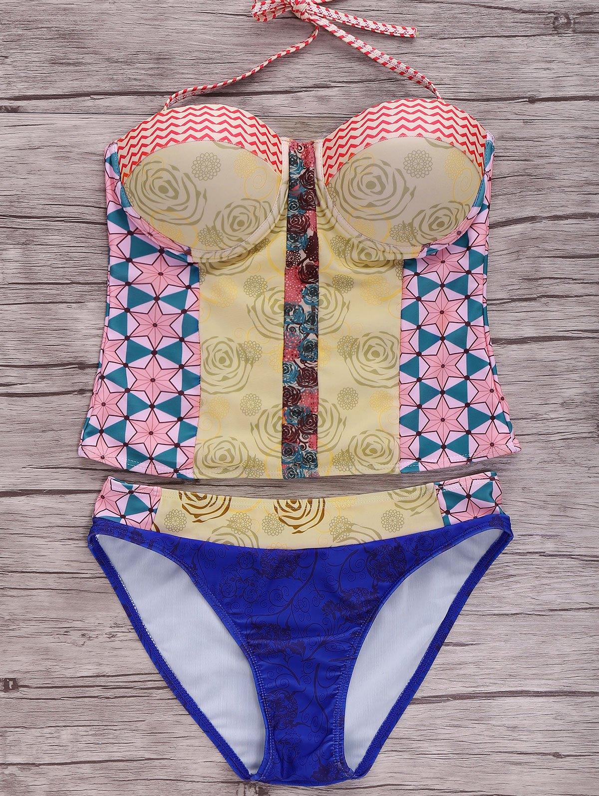 Geometric Printed Halter Bikini Set 182757901