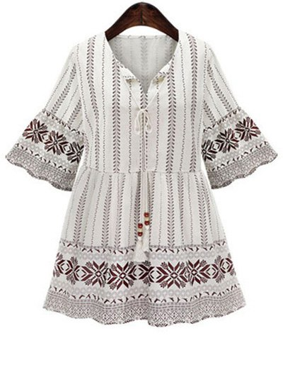 High Waisted Printed 3/4 Sleeve Dress от Zaful.com INT