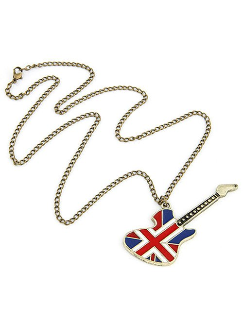 Union Flag Guitar Pendant Long Necklace