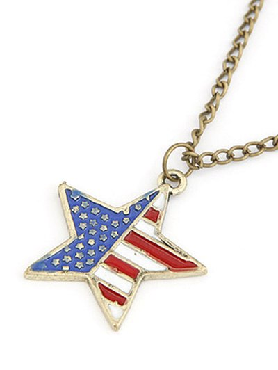 American Flag Star Pendant Long Necklace