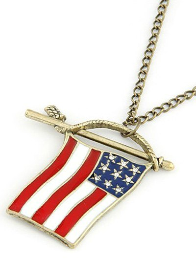 American Flag Pendant Long Necklace