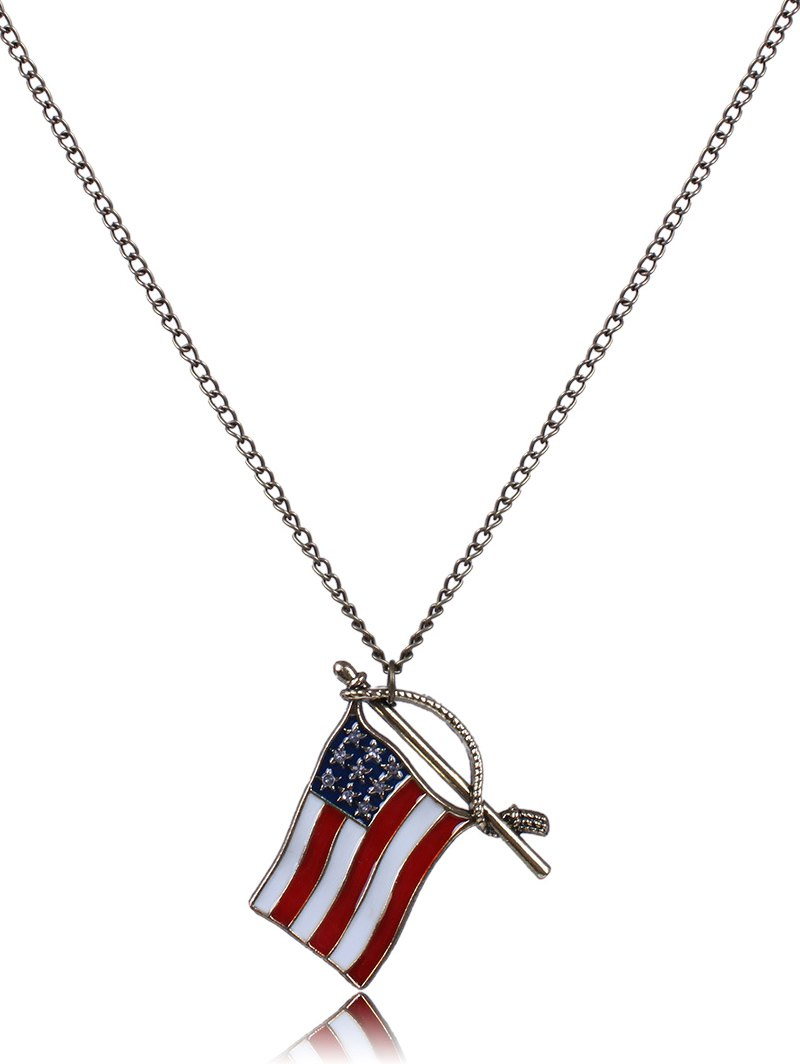 American Flag Oil Drip Necklace For Women