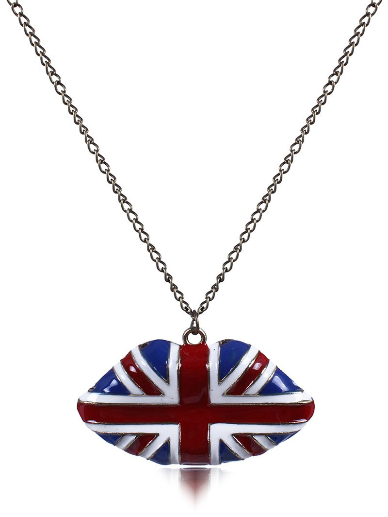 England Flag Lip Oil Drip Necklace