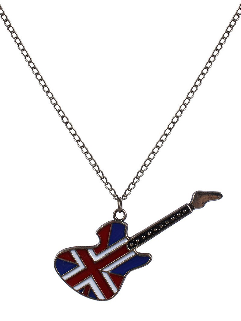 England Flag Guitar Oil Drip Necklace